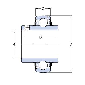 схема корпусного подшипника (подшипникового узла) UC