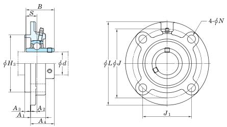 схема корпусного подшипника (подшипникового узла) UCFC