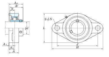 схема корпусного подшипника (подшипникового узла) UCFL