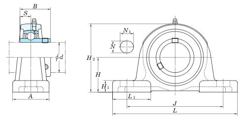схема корпусного подшипника (подшипникового узла) UCP