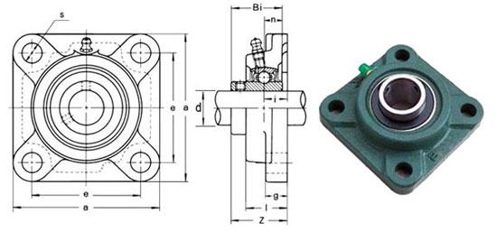 чертеж корпусного подшипника (подшипникового узла) UCF